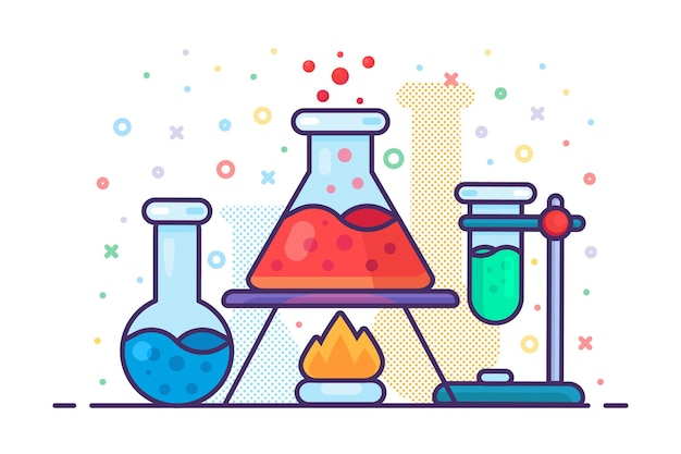 Chemistry liquid flask on burning fire icon vector. laboratory medical experiment discovery medicaments concept linear pictogram. pharmacy development and researching contour illustration