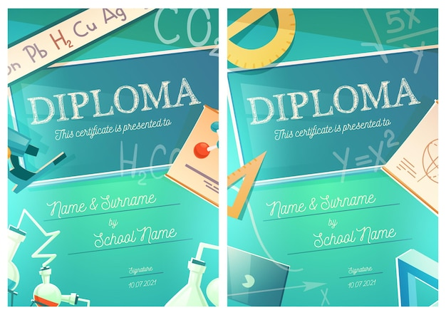 Chemistry and mathematics science diploma template