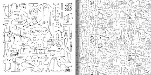 Объекты химии рисованной каракули набор и бесшовные обои с элементами науки