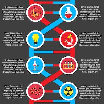 화학 또는 생물학 플랫 인포 그래픽 템플릿
