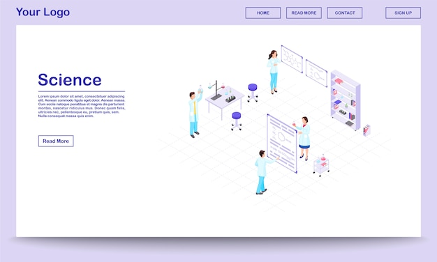 Chemistry research isometric website template. cartoon lab workers holding glassware for scientific experiment. scientists studying chemical reactions in beakers.
