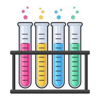 화학 연구 실험실 테스트 유리 튜브 세트.