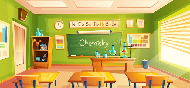 Chemistry room, school laboratory, classroom interior