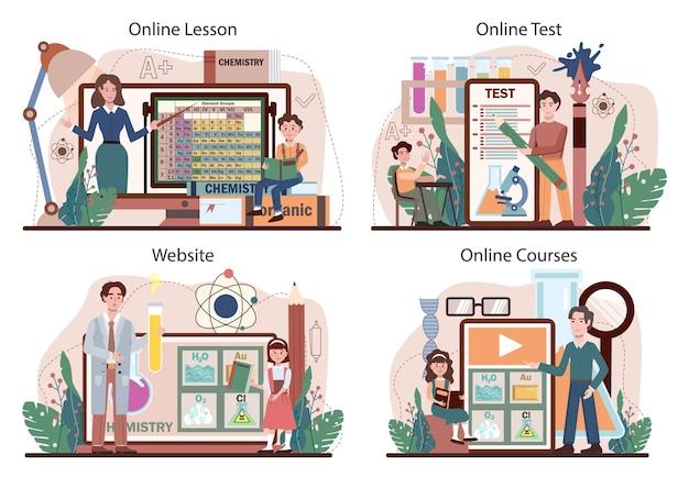 화학 학교 수업 온라인 서비스 또는 플랫폼 세트. 학생 학습 화학 공식 및 요소입니다. 시약으로 실험하십시오. 온라인 수업, 시험, 코스, 웹사이트. 평면 벡터 일러스트 레이 션