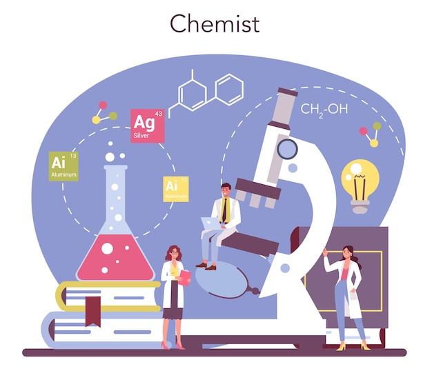 化学科学の概念。実験室での科学実験。科学機器、化学研究。