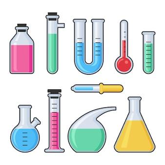 Набор стеклянных пробирок и колб для лабораторных исследований химии. оборудование для аптек и химии, образования и науки