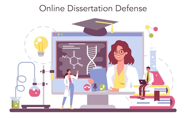 Chemistry science online service or platform set. scientific experiment in the laboratory.