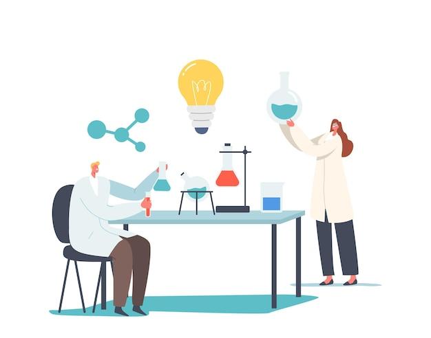 化学科学の研究開発の概念。機器とフラスコを備えた化学実験室の科学者のキャラクター。研究室での医薬品調査。漫画の人々のベクトル図