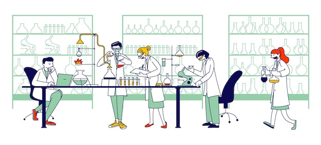 Chemistry scientists, professional people characters chemists or doctors research medical experiment in scientific laboratory with contemporary equipment, researchers. linear vector illustration