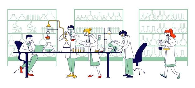 화학 과학자, 전문 인물 화학자 또는 의사는 현대 장비, 연구원을 갖춘 과학 실험실에서 의학 실험을 연구합니다. 선형 벡터 일러스트 레이 션