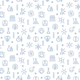 Chemistry  seamless pattern with chemical blue icons