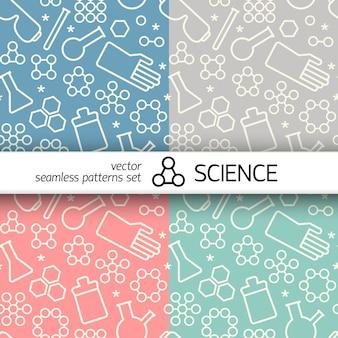 Modello senza cuciture di chimica con simboli doodle bianchi