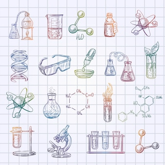 Chemistry sketch icons set on checked exercise book background