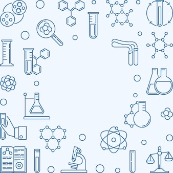 Chemistry square background with blue chemical outline icons