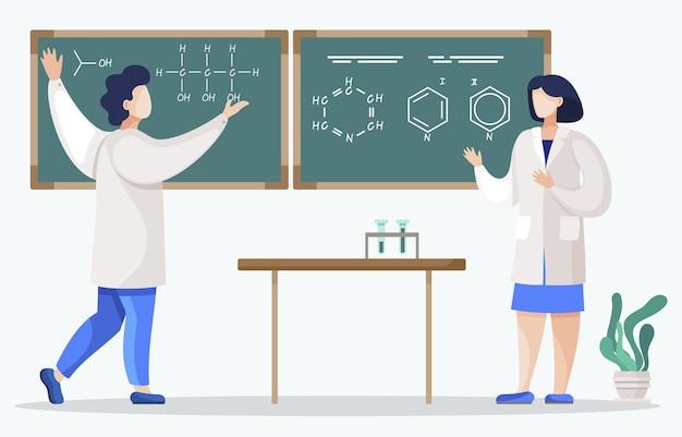 化学の学生と教室での授業の学生