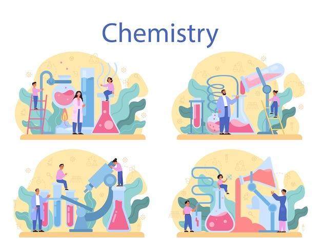 化学研究の概念セット。化学の授業。化学装置を使った実験室での科学実験。