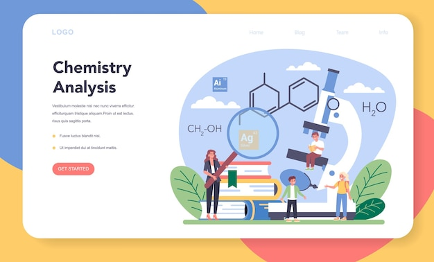 Chemistry studying web banner or landing page. chemistry lesson. scientific experiment in the laboratory with chemical equipment.