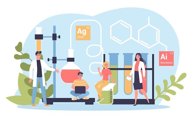 化学科目。実験室での科学実験。科学機器、化学教育。