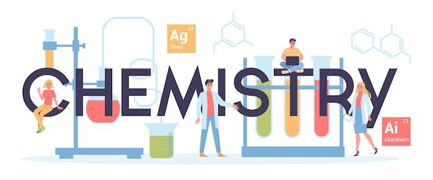Заголовок веб-сайта по химии. научный эксперимент в лаборатории. научное оборудование, химическое образование.