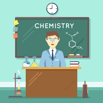 Chemistry teacher in classroom. school science study, university man research. vector illustration flat education background