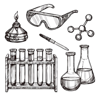 Chemistry tools hand drawn set