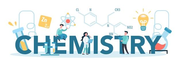 Типографская концепция химии. ученый, проводящий медицинские исследования. лабораторное оборудование. медицина и химический эксперимент. химический анализ.