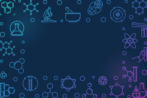 Chemistry vector colorful horizontal frame in outline style
