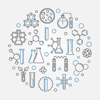 Chemistry vector concept round illustration in thin line style