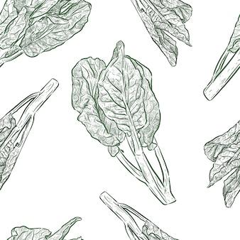 Cheneseケールまたは中国ブロッコリーのシームレスパターン、野菜。手描きのスケッチのベクトル。