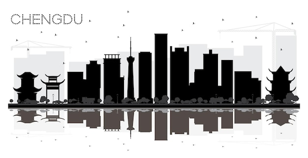 Chengdu china city skyline black and white silhouette with reflections vector illustration