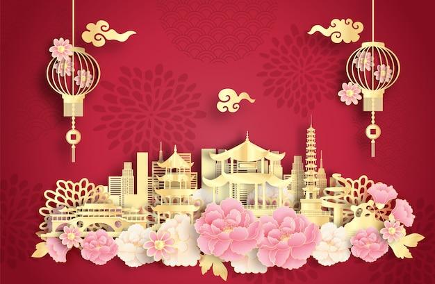 有名なランドマークと美しい中国のランタンがある成都中国