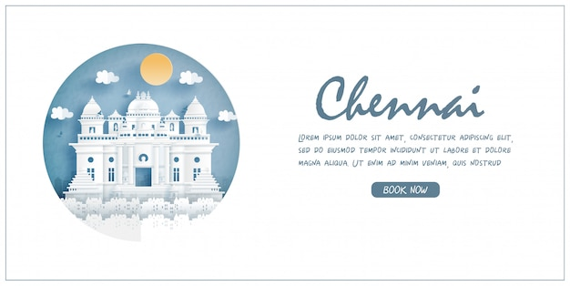 Chennai, india. world famous landmark with white frame and label. travel postcard and poster, brochure, advertising illustration.