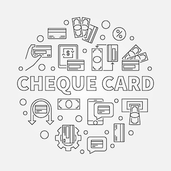 Cheque card concept round simple outline illustration