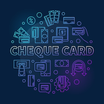 Cheque card round colorful outline icon illustration