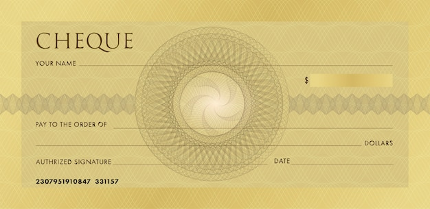 Cheque or chequebook template. blank gold business bank cheque with guilloche rosette and abstract watermark.