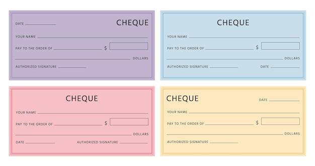 템플릿을 확인하십시오. 빈 필드가 있는 빈 수표 페이지 모형. 테두리가 있는 은행 수표 디자인. 다채로운 가짜 바우처는 벡터 세트를 확인합니다. 그림 지폐 수표 지폐 빈