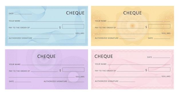 기로쉐로 확인하세요. 은행 수표 템플릿입니다. 스피로그래프 워터마크와 추상 패턴 벡터 세트가 있는 지폐 바우처에 대한 빈 모형. 스피로그래프가 있는 그림 수표 지폐