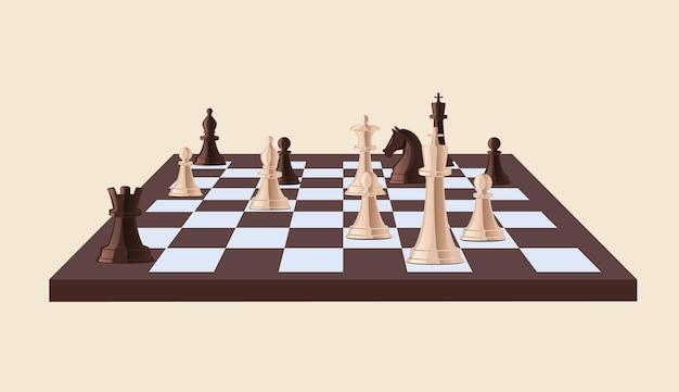 Клетчатая шахматная доска с черно-белыми шахматными фигурами на ней