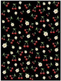 Cherries and cherry blossom pattern on black background. sakura tree