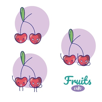 Cherries cute fruits cartoons