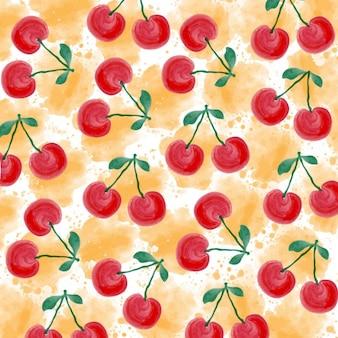 Priorità bassa fresca estate acquerello con ciliegie