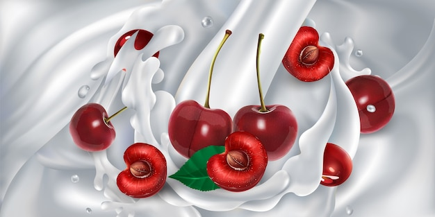 Cherries in a splash from a stream of pouring milk.