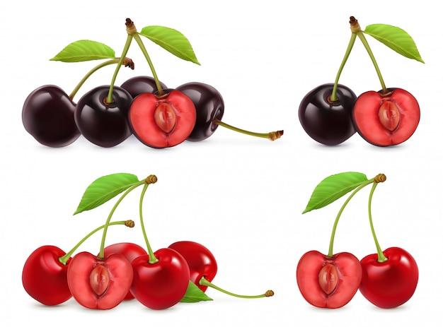 さくらんぼ。全体と半分の果実。 3 dのリアルなセット