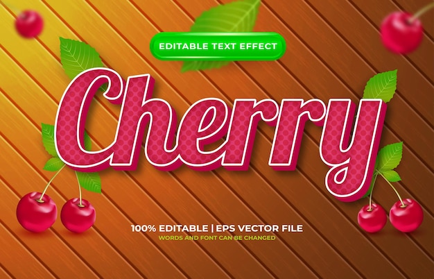 Cherry 3d editable text effect template style