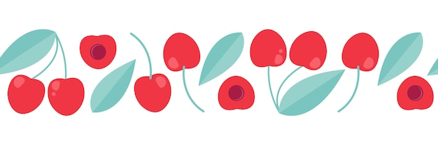 Cherry banner for print. vector decorative ornament in flat style.