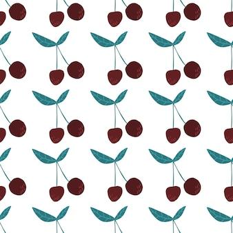 チェリーベリーと葉のシームレスなパターン。夏のフルーツベリーの壁紙。白い背景で隔離の甘い赤い熟したサクランボ。ファブリック、テキスタイルプリントのデザイン。手描きのベクトル図です。