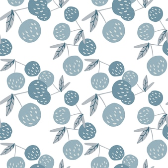 Cherry berries and leaves seamless pattern