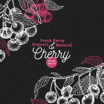 Cherry berry design template. hand drawn vector fruit illustration on chalk board. engraved style retro botanical background.