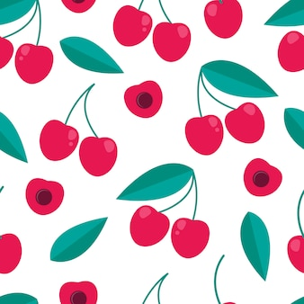 Cherry berry seamless pattern in flat style.