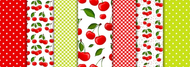 Cherry berry and spring geometric seamless patterns set